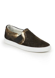 Lanvin Metallic Foil Suede Slip-On Sneakers