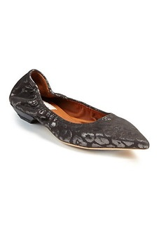 Lanvin Metallic Leopard-Patterned Suede Flats