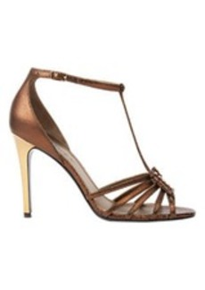 Lanvin Metallic Nail-Head T-strap Sandals