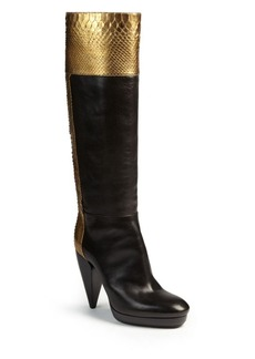 Lanvin Metallic Python & Leather Knee-High Boots