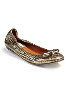Lanvin Metallic Snake-Embossed Leather Flats