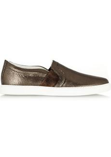 Lanvin Metallic textured-leather sneakers