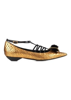 Lanvin Mink-fur bow python point-toe flats
