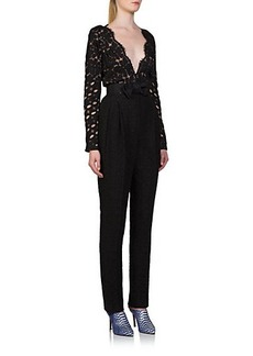 Lanvin Mixed-Media Lace Bow Jumpsuit