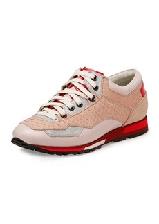 Lanvin Mixed-Media Sneaker, Rose