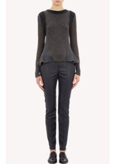 Lanvin Mixed-Stitch Peplum Sweater