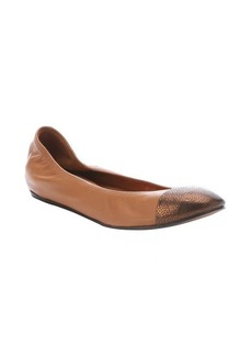 Lanvin mocha and bronze leather wedge cap toe ballerina flats