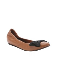 Lanvin mocha lambskin concealed wedge bow detail ballerina flats
