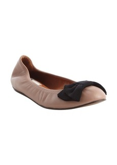 Lanvin natural and black bow detail leather ballerina flats