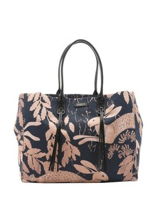 Lanvin navy and peach bunny print canvas large tote bag