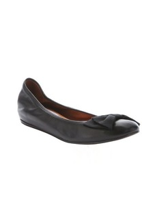 Lanvin nero lambskin concealed wedge bow detail ballerina flats