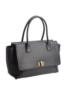 Lanvin noir leather antique gold clasp top handle bag