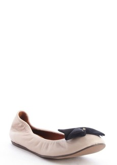 Lanvin nude leather black bow detail ballet flats