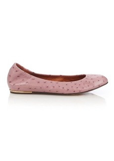 Lanvin Ostrich-effect leather ballet pumps