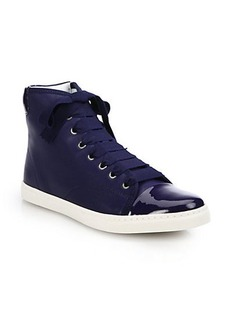 Lanvin Patent Leather & Leather High-Top Sneakers