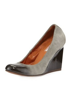 Lanvin Patent-Trimmed Suede Wedge Pump, Gray
