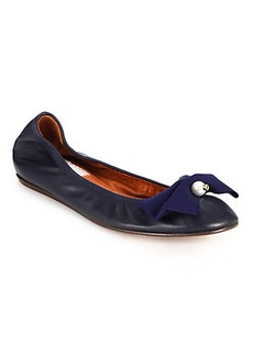 Lanvin Pearl & Bow Leather Ballet Flats