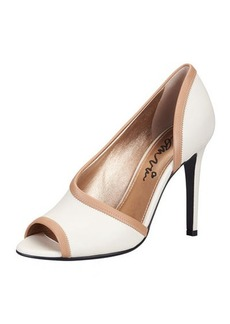 Lanvin Peep-Toe d'Orsay Pump, White/Tan