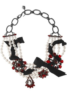 Lanvin Pewter, Swarovski pearl and crystal necklace
