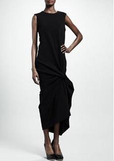 Lanvin Pinched Mid-Calf Jersey Dress, Black