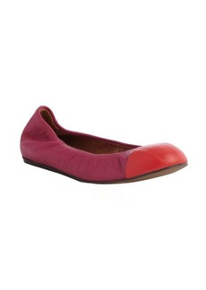 Lanvin pink leather cap toe ballet flats