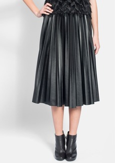 Lanvin Pleated Faux Leather Midi Skirt