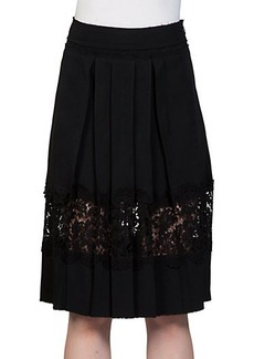 Lanvin Pleated Lace-Inset Skirt