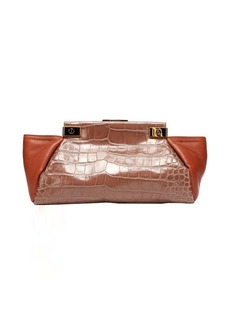 Lanvin plum leather 'Trilogy' croc-embossed trapeze clutch
