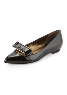 Lanvin Point-Toe Buckle Ballerina Flat, Black