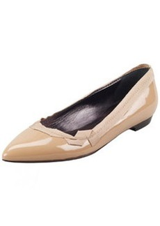 Lanvin Pointed-Toe Patent Leather Ballerina Flat, Nude