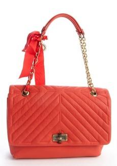 Lanvin poppy orange quilted leather large 'Happy' shoulder bag
