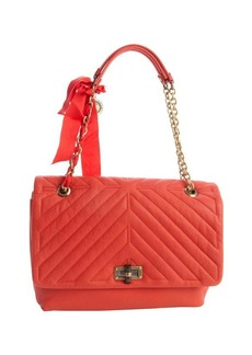 Lanvin poppy orange quilted leather large 'Happy' shoulder bag