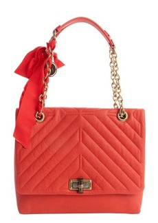 Lanvin poppy orange quilted leather medium 'Happy' chainlink shoulder bag