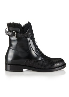 Lanvin Python and leather fur-trim ankle boots