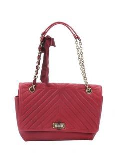 Lanvin red quilted leather large 'Happy' shoulder bag