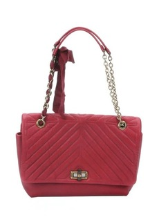 Lanvin red quilted leather large 'Happy' shoulder bag