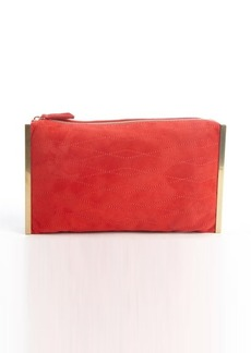 Lanvin red quilted suede goldtone side bar 'Private' clutch