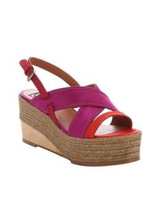 Lanvin red satin slingback platform wedge sandals
