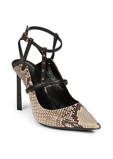 Lanvin Rivet Python & Leather Pumps