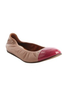 Lanvin rose and pink leather cap toe ballet flats