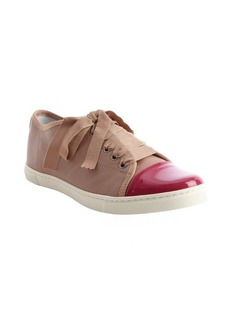 Lanvin rose and raspberry cap toe grosgrain lace sneakers