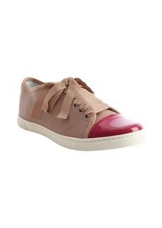 Lanvin rose and raspberry cap toe grosgrain lace sneakers