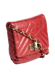 Lanvin rouge quilted leather braided ribbon chain strap shoulder bag