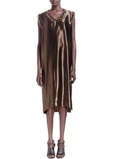 Lanvin Sateen Fringe Bead-Trim Shift Dress