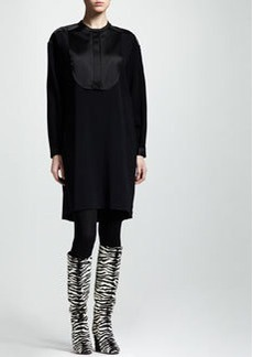 Lanvin Satin-Bib Belted Dress