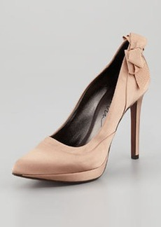 Lanvin Satin Bow-Back Platform Pump