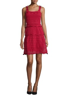 Lanvin Scallop-Tiered Knit Tank Dress, Red