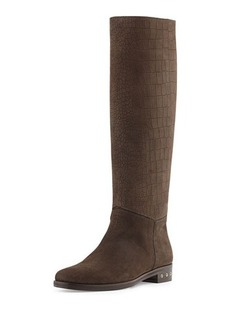 Lanvin Screw-Heel Croc-Embossed Knee Boot, Dark Brown