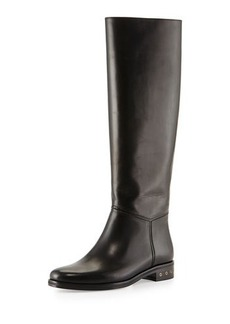 Lanvin Screw-Heel Leather Knee Boot, Black