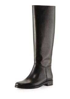 Lanvin Screw-Heel Leather Knee Boot, Black
